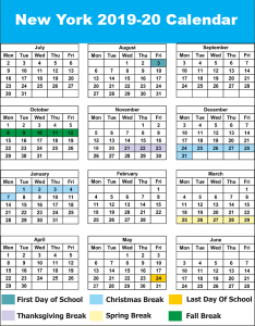 NYC Public School Calendar 2019 - 2020