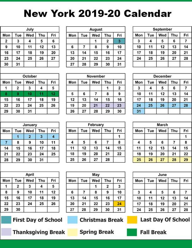 Nyc Doe School Calendar 2020 NYC School Holidays Calendar 2019 – 2020 | NYC School Calendar