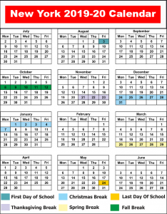 NYC School Holiday Calendar 2019 - 2020