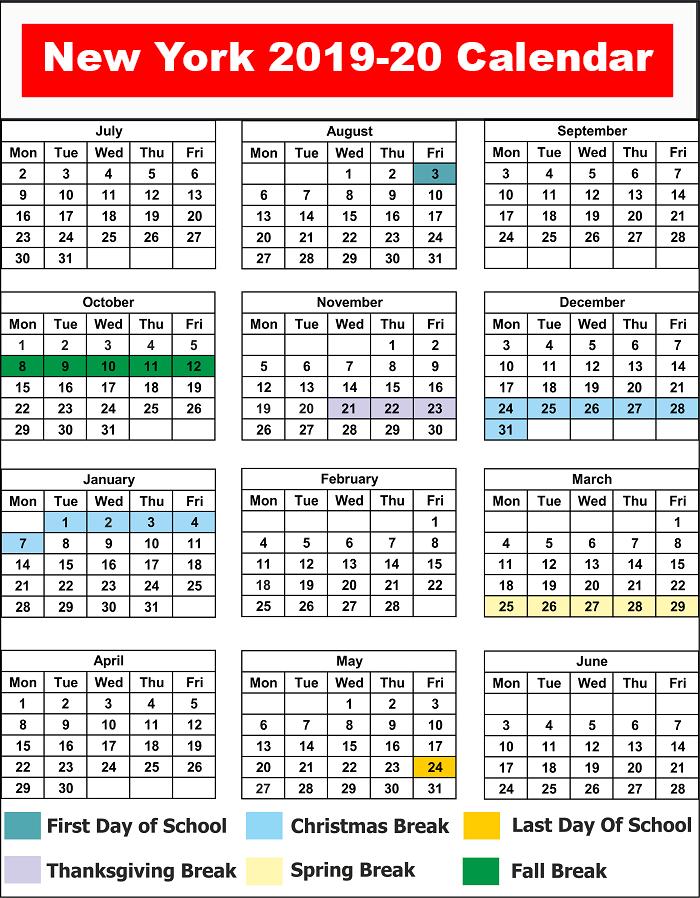 NYC School Holiday Calendar 2019 - 2020