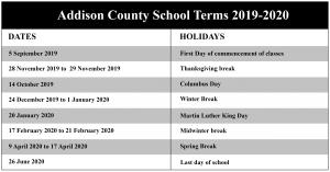 Addison Central School District Calendar