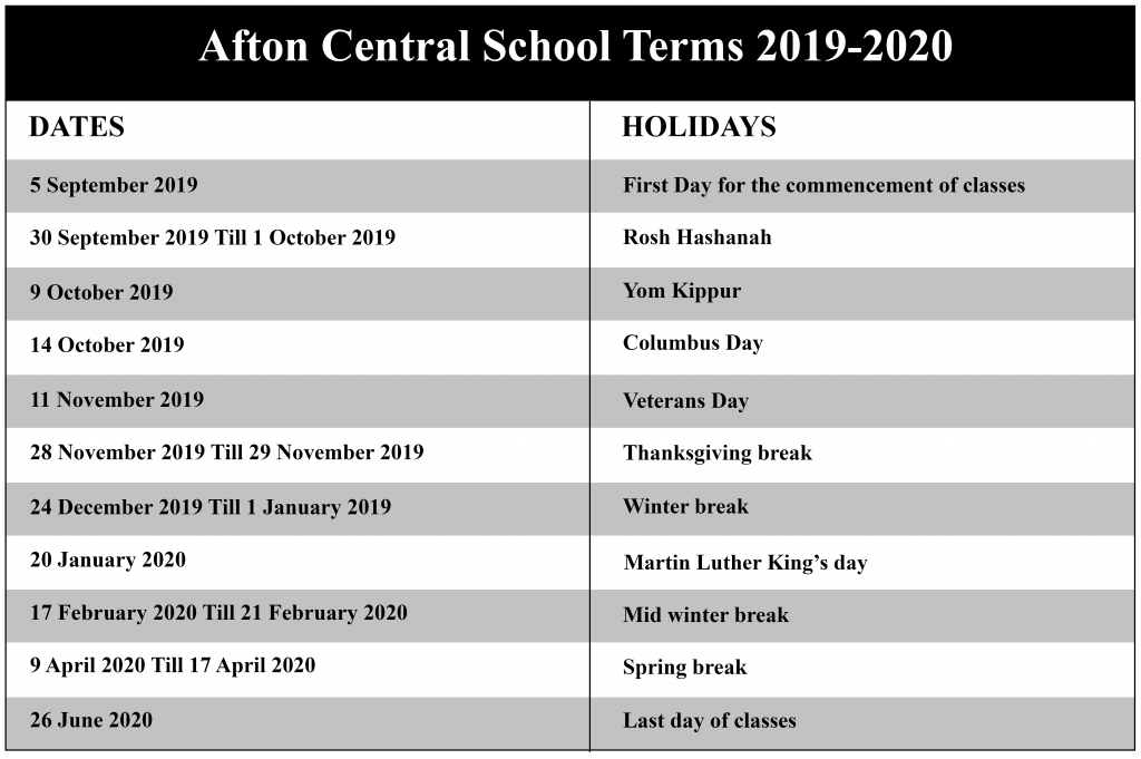 Afton Central School District Calendar