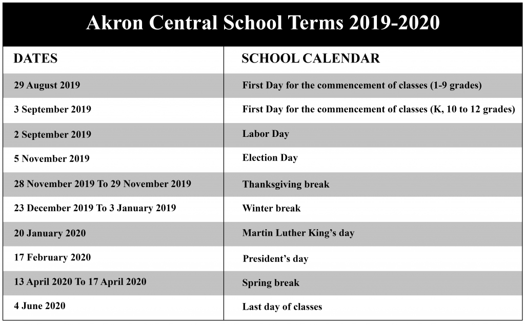 Akron Central School District Calendar