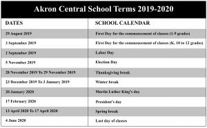 Akron Central School District Calendar