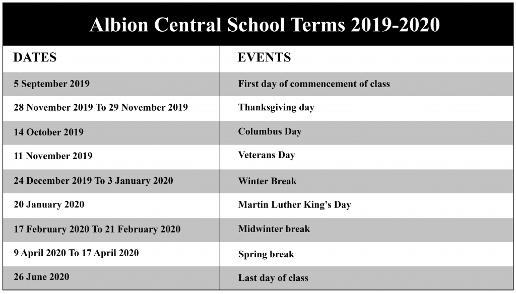 Albion Central School District Calendar