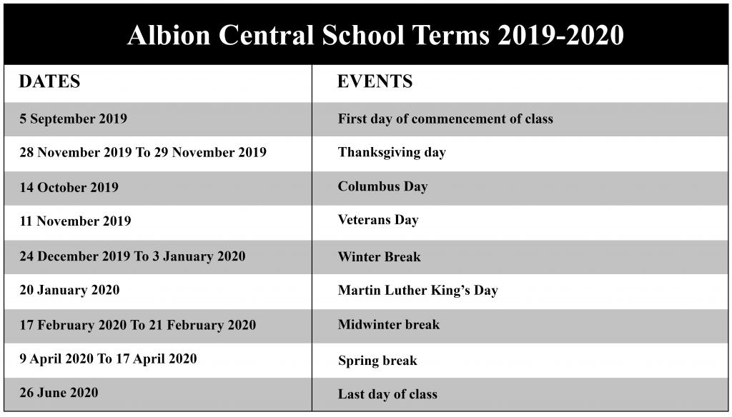 Albion Central School District Calendar