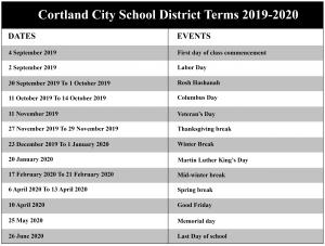 Cortland City School District Academic Calendar
