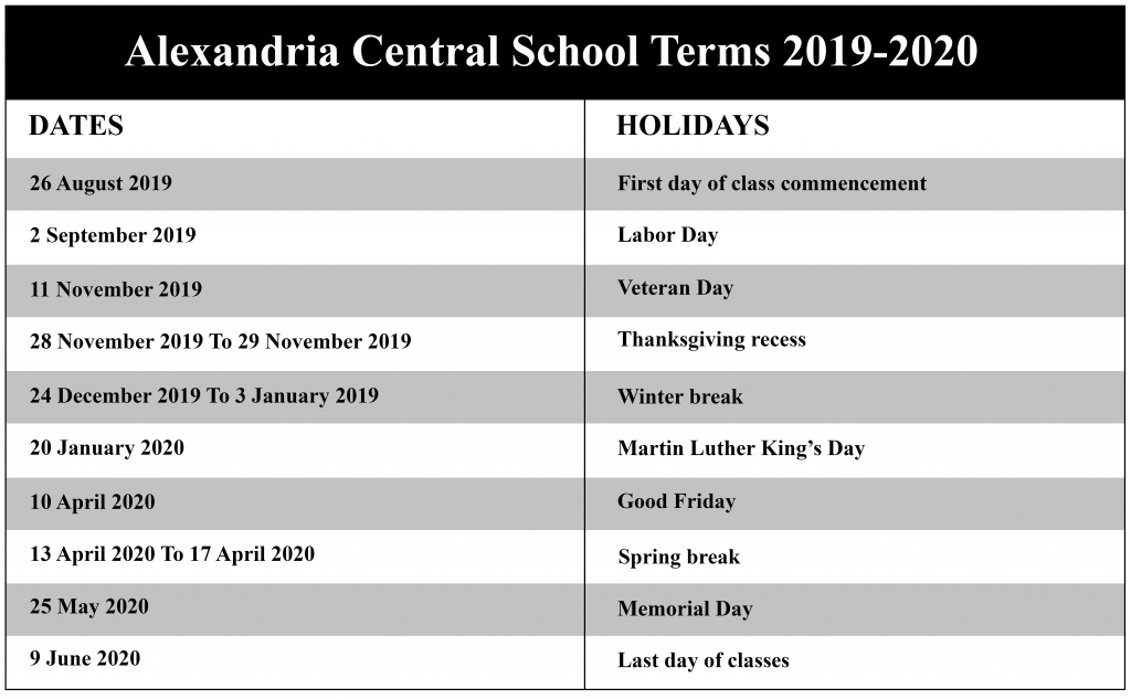 Alexandria Central School District Calendar