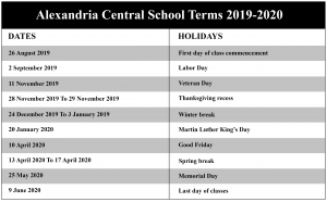 Alexandria Central School District Calendar