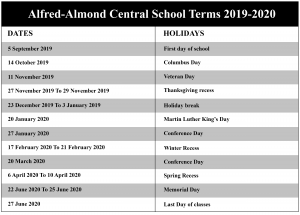 Alfred-Almond Central School District Calendar