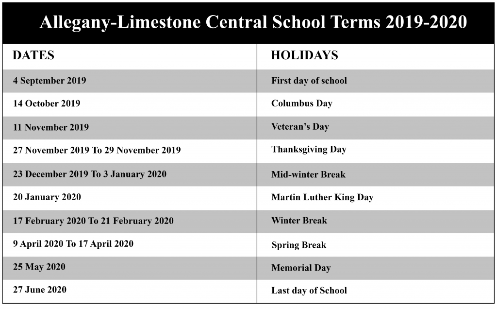 Allegany-Limestone Central School District Calendar