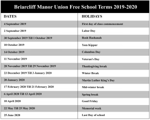 Briarcliff Manor Union Free School District Calendar