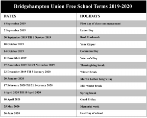 Bridgehampton Union Free School District Calendar