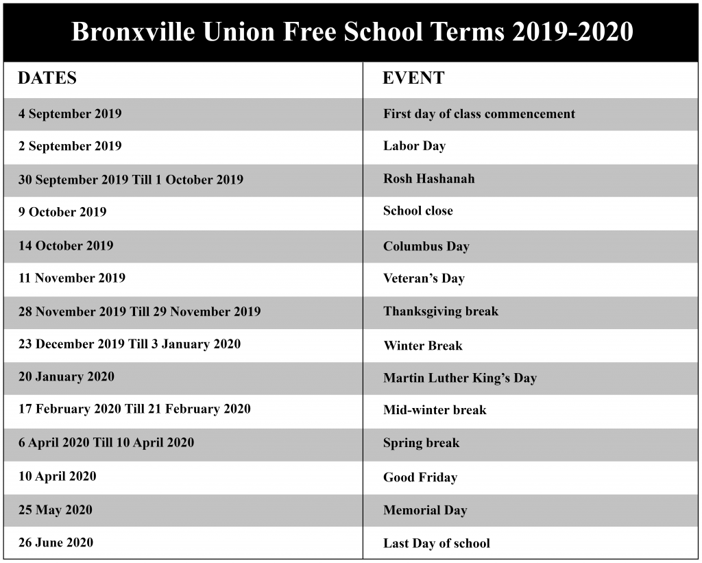 Bronxville Union Free School District Calendar