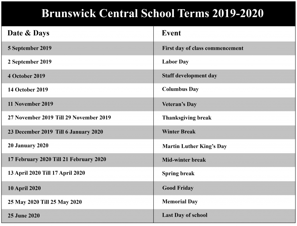 Brunswick Central School District Calendar