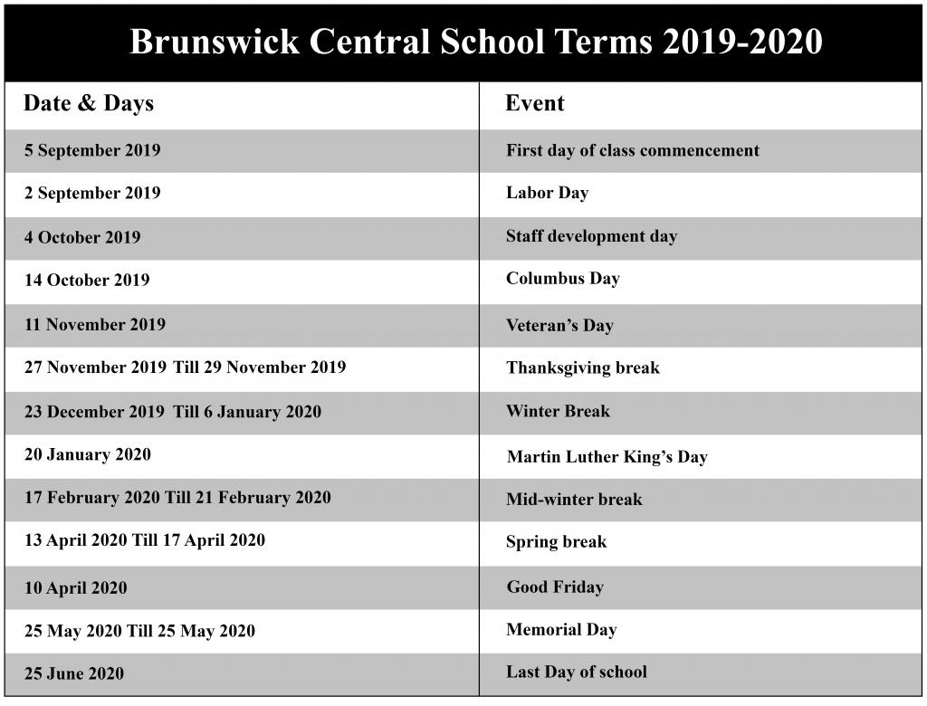 Brunswick Central School District Calendar