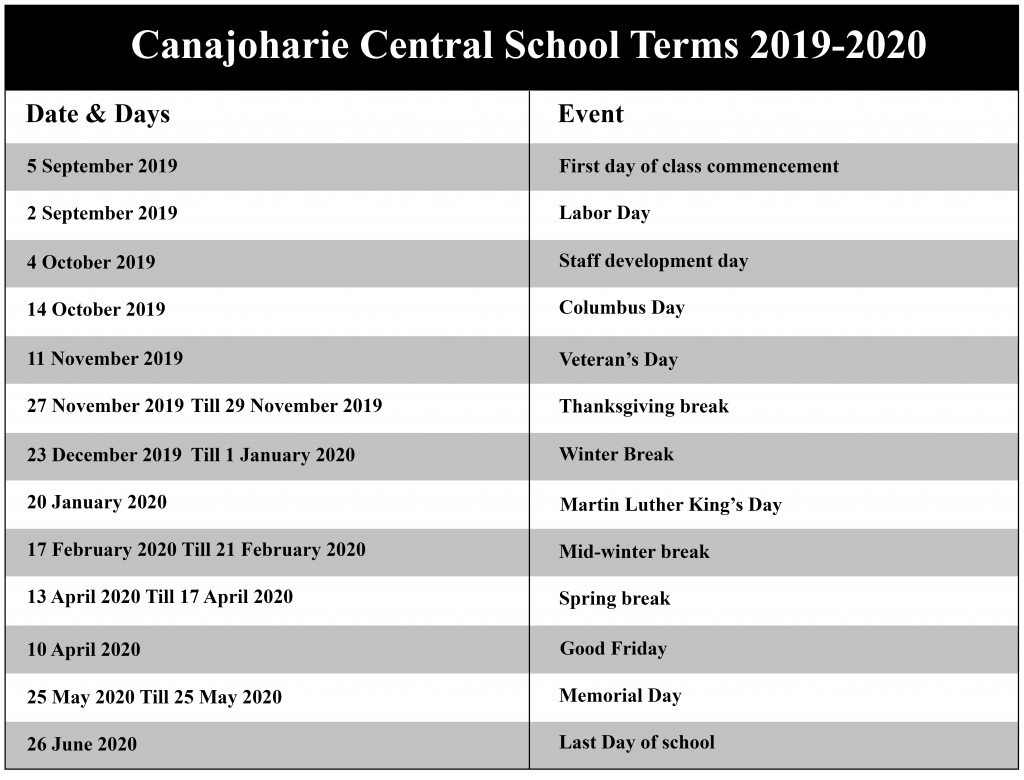 Canajoharie Central School District Calendar