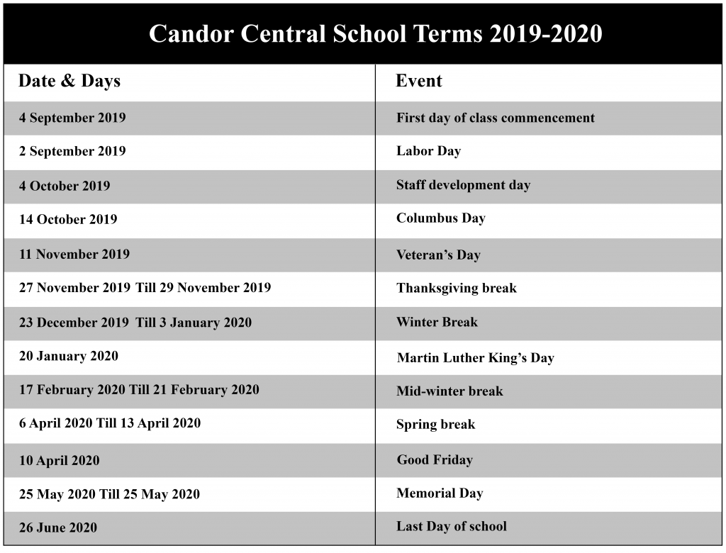 Candor Central School District Calendar
