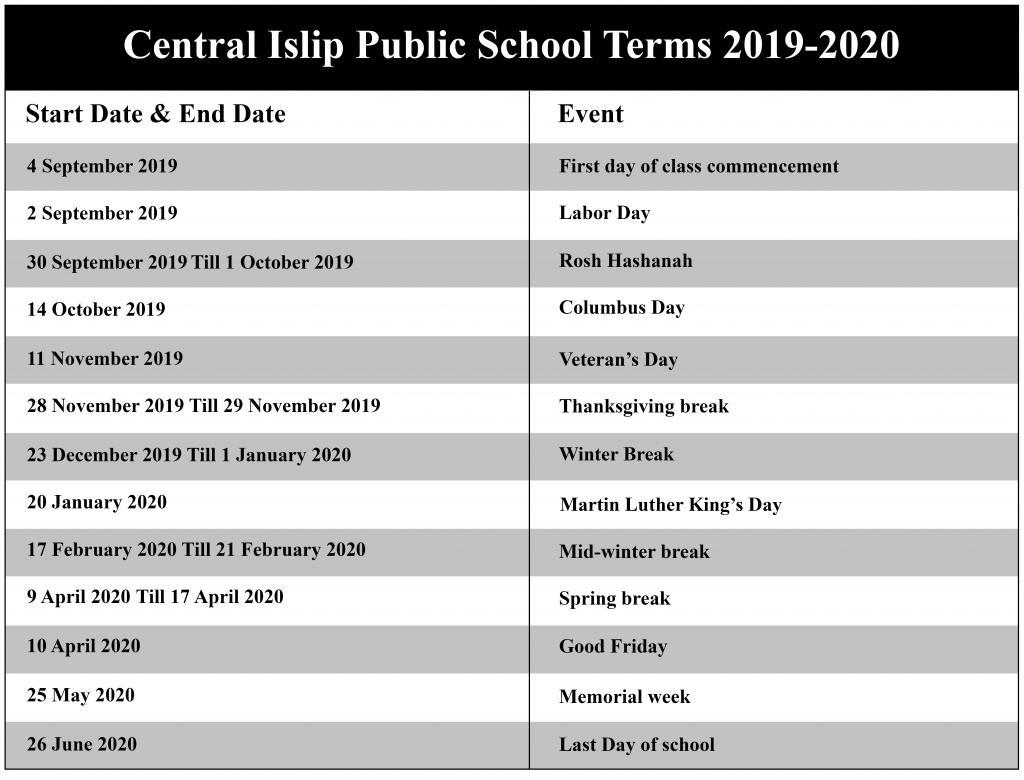 Central Islip Public Schools Academic Calendar