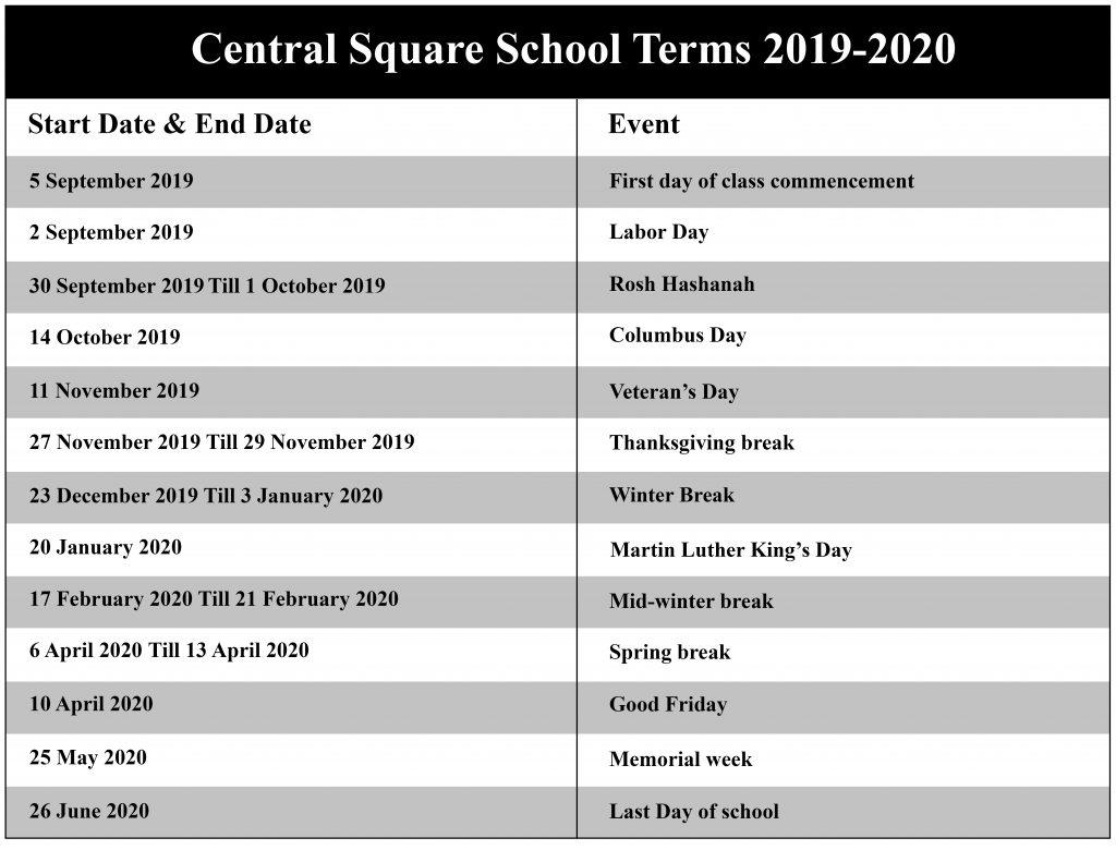 Central Square School District Academic Calendar