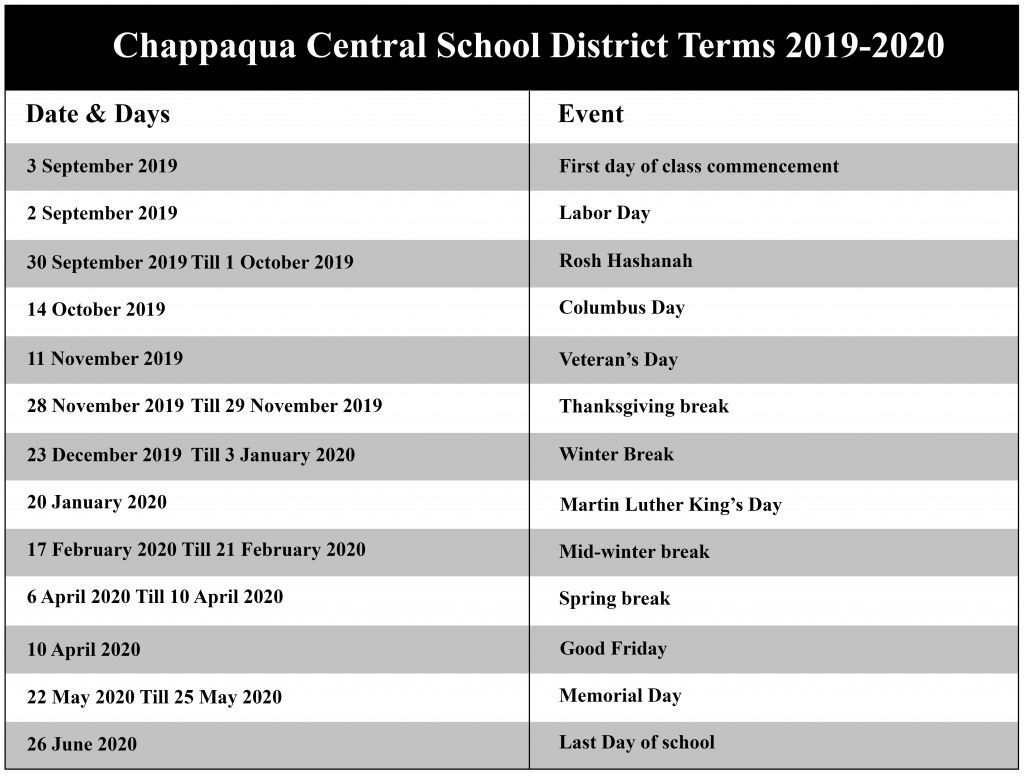 Chappaqua Central School District Academic Calendar