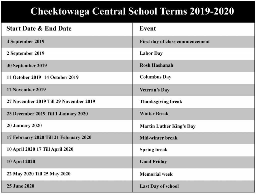 Cheektowaga Central School District Academic Calendar