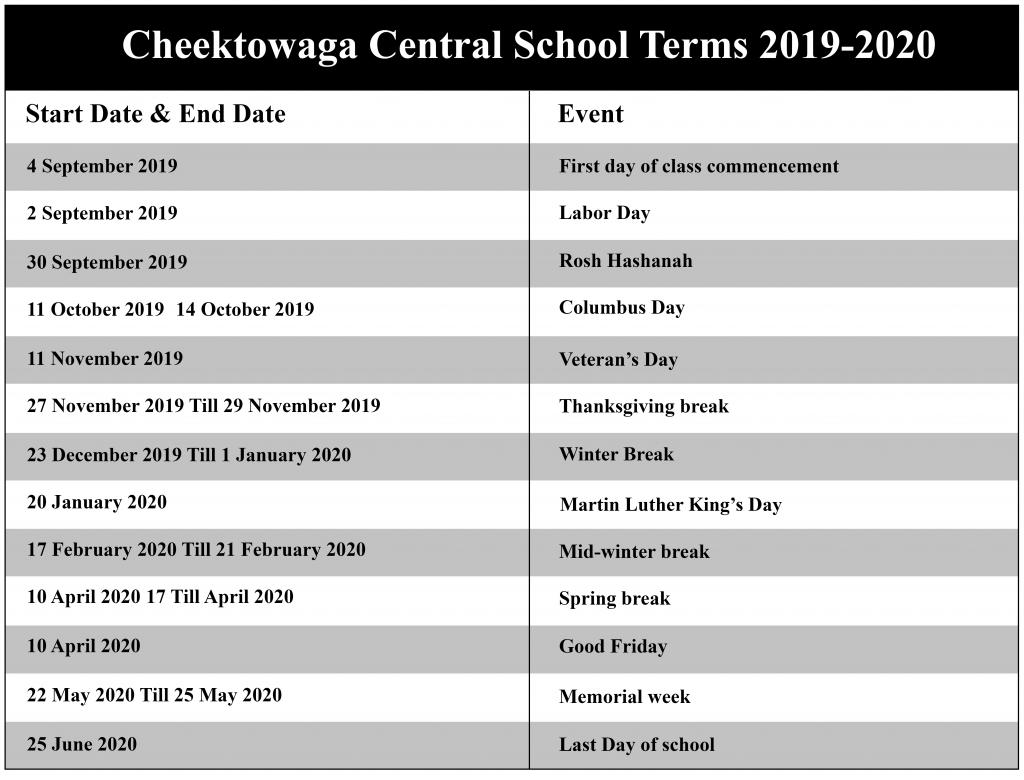 Cheektowaga Central School District Academic Calendar