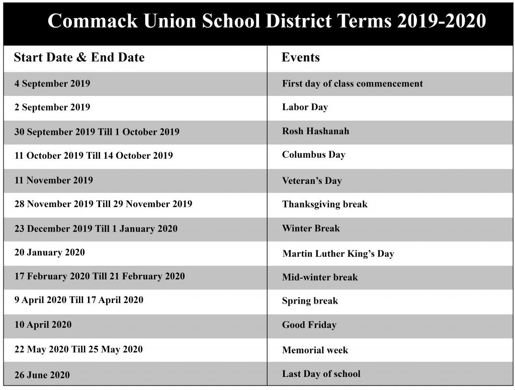 Commack Union School District Calendar