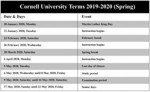 Cornell Spring 2020 Calendar.Cornell University Calendar 2019 2020 Spring