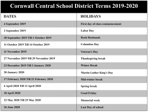 Cornwall Central School District Academic Calendar