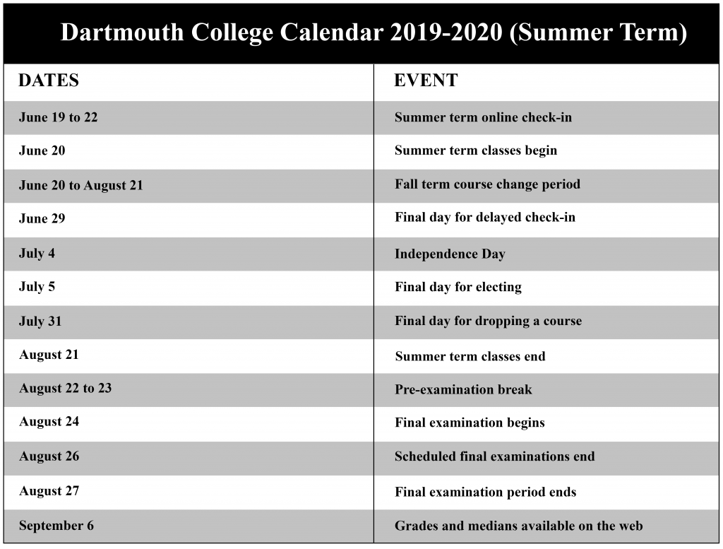 Dartmouth College Calendar