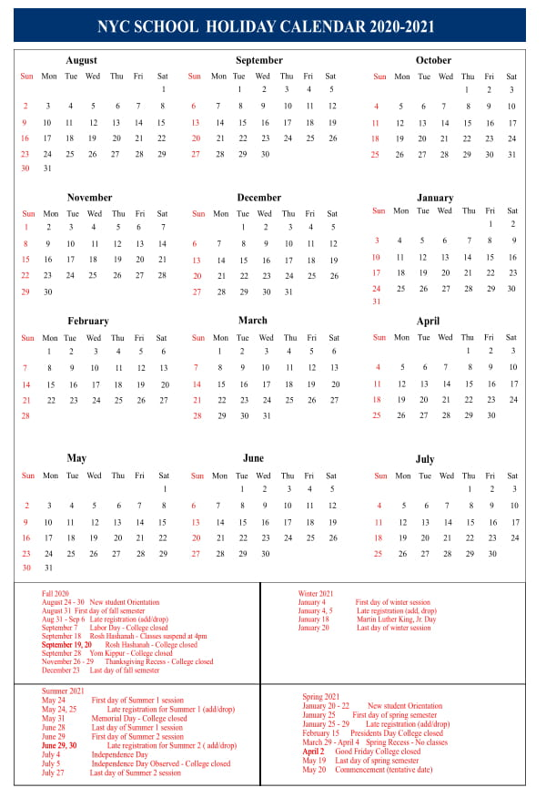 Hawaii Doe 2021-22 Calendar 🥰NYC School Holidays Calendar 2020 2021🥰