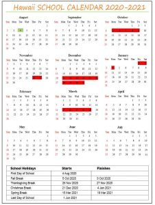 Hawaii School Calendar
