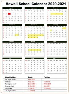 Hawaii School Calendar 2020- 2021