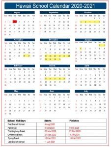 Hawaii School Calendar 2020