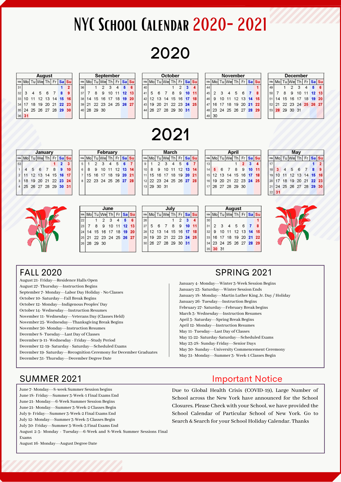 Nycdoe Calendar 2022.Nyc School Holidays Calendar 2021 2022