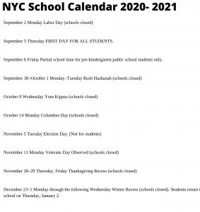 NYC School Calendar 2020- 2021