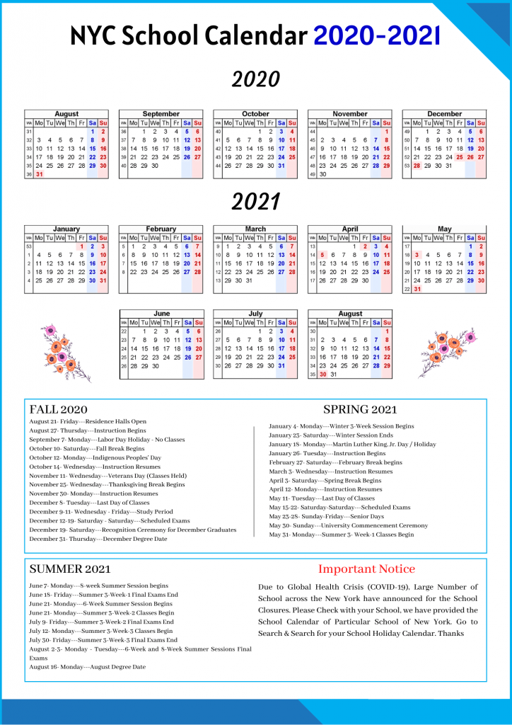 NYC School Holidays 2020-2021