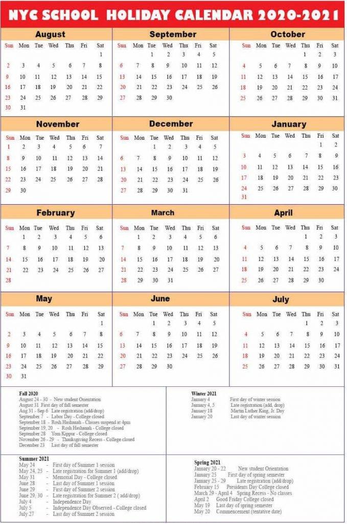 NYC School Holidays Calendar 2020-2021🥰 | NYC School Calendar