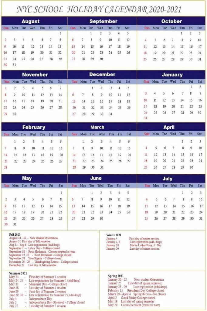 NYC School Holidays Calendar 2020