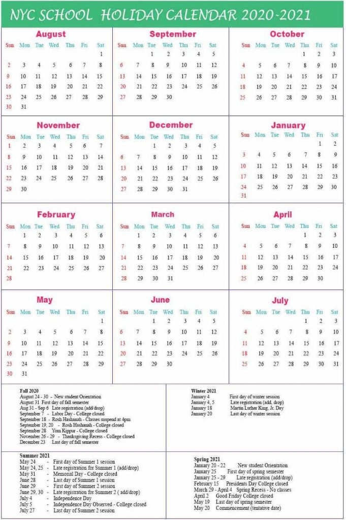 NYC School Holidays Calendar