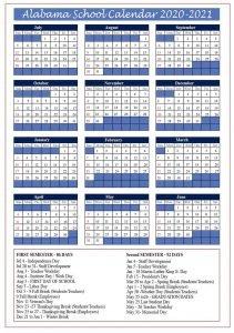 Alabama Public School Calendar 2020