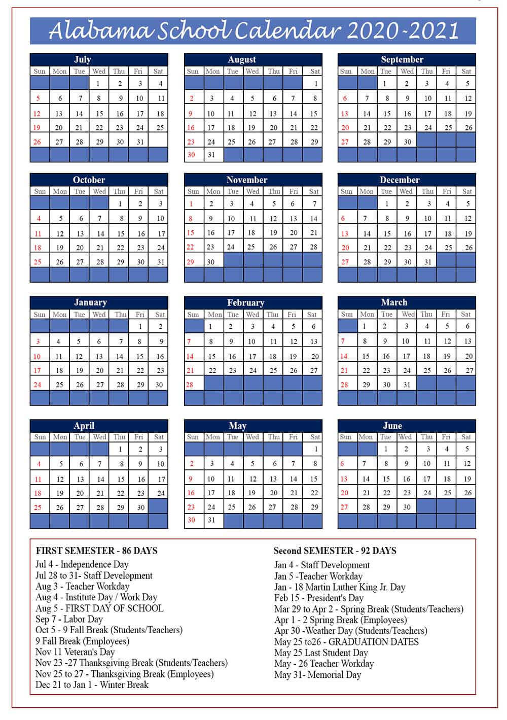Alabama Public School Calendar 2020