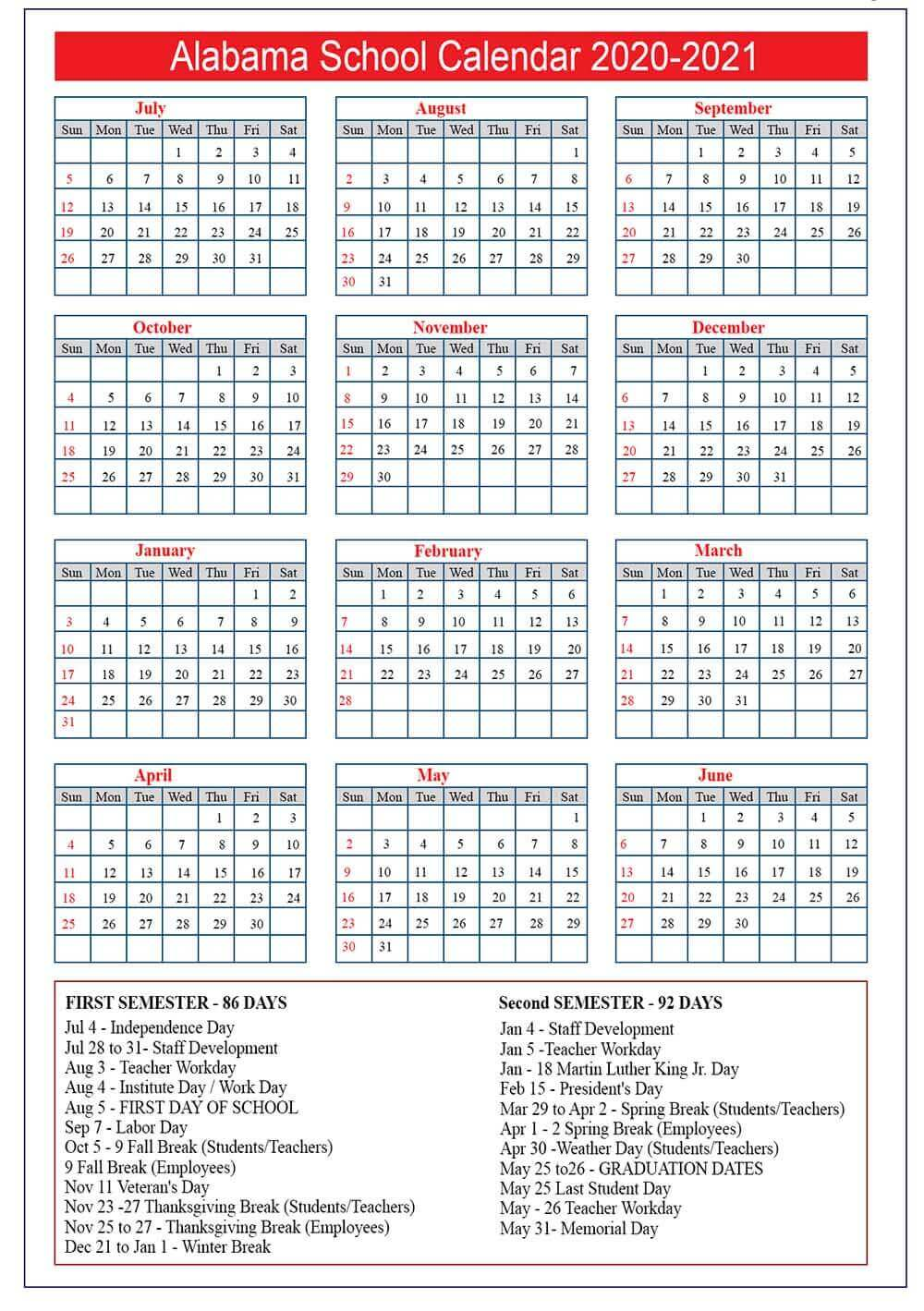 Alabama School Calendar 2020- 2021