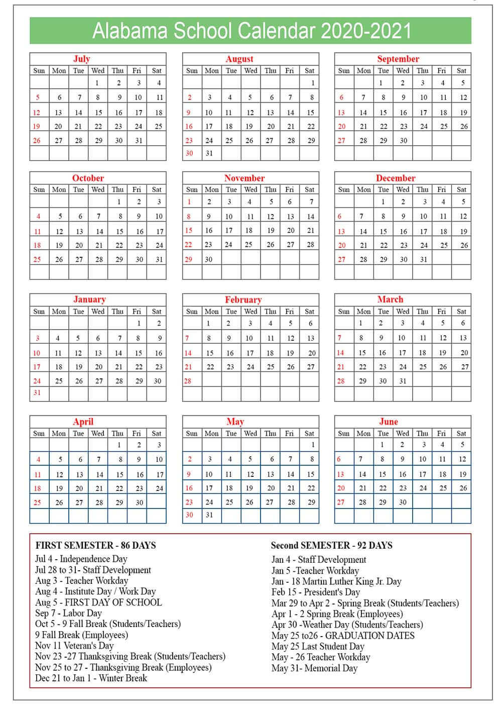 Alabama School Calendar 2020