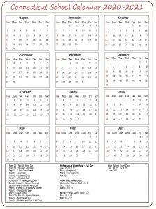 Connecticut School Calendar 2020- 2021