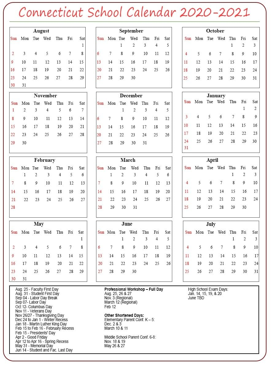 Connecticut School Calendar 2020- 2021