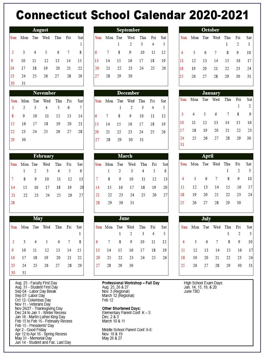 Connecticut School Calendar