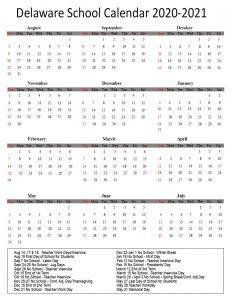 Delaware Public School Calendar 2020