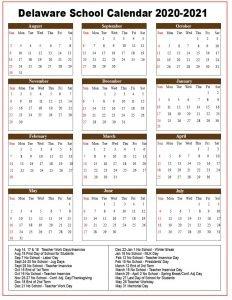 Delaware School Calendar 2020
